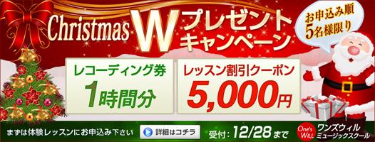 クリスマスWプレゼントキャンペーン2014 お申込順5名様限り