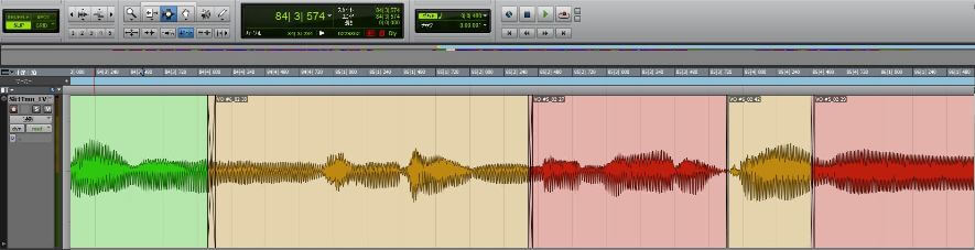 Pro Tools_ボーカル波形クロスフェード